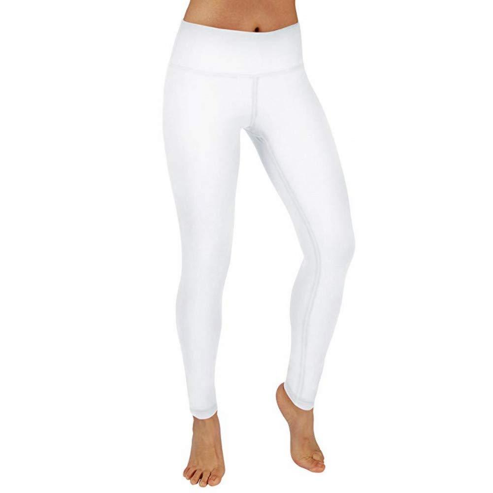 blanc Medium NSYJKPantalon de yogaCollants pour Femmes Taille Haute Pantalons de Yoga Tummy Control Workout FonctionneHommest Pantalons Way Stretch Yoga Leggings avec Poche cachée