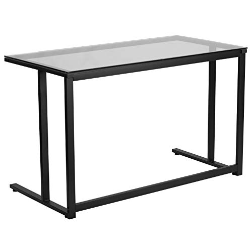 Flash Furniture Glass Desk with Black Pedestal Frame ()