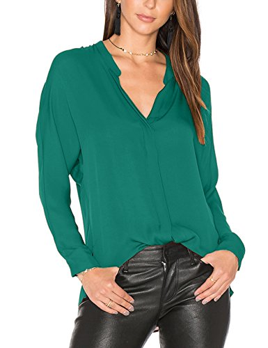 Dohia Women's Casual V Neck Chiffon Blouses Long Sleeve Loose Tops Shirt C2613 (M, Ocean Blue 2)