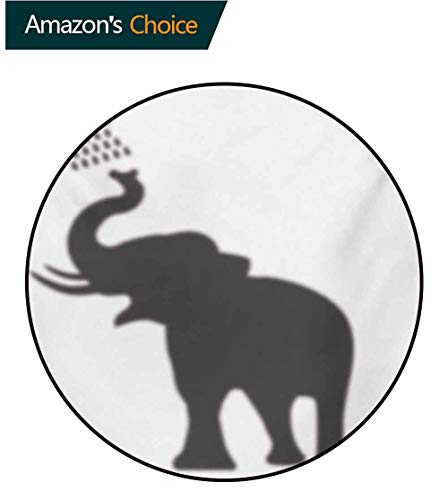 - RUGSMAT Elephant Computer Chair Floor Mat,Elephant Taking A Shower Bathing in Bath Tub Shadow Funny Art Print Humor Design Printed Round Carpet for Children Bedroom Play Tent,Round-71 Inch