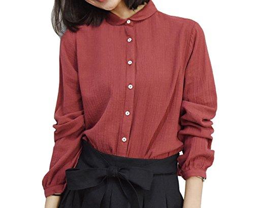 PurpuraErizo Casual Camisa De Algodón Camisas Con Botón Para Mujer Blusa Rojo Oscuro