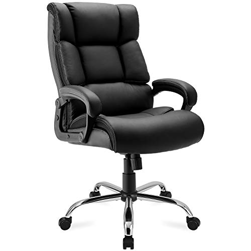 Executive Office Chair 400lb Heavy Duty,JULYFOX Bonded Faux Leather Office Chair Ergonomic Lumbar Support 6 Layer Thick Padded Seat Head Pillow Extra Wide Tilt Control Mechanism Boss Chair Black
