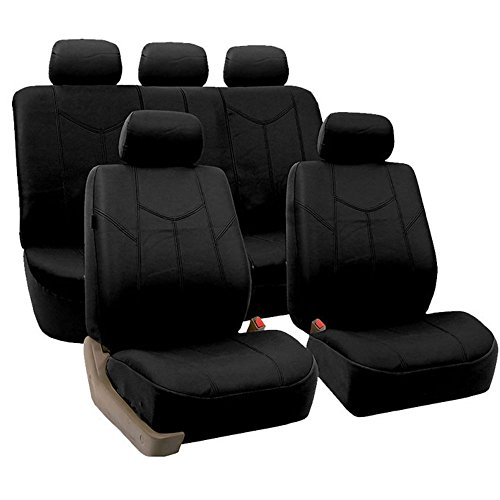 Nissan Frontier Leather Seats - FH Group FH-PU009115 Rome PU Leather Full Set Car Seat Covers, Airbag compatible and Split Bench, Solid Black - Fit Most Car, Truck, Suv, or Van