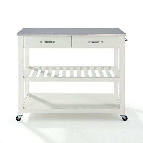 Solid Portable Steel Stainless Top - Crosley Furniture Portable Kitchen Cart with Stainless Steel Top - White
