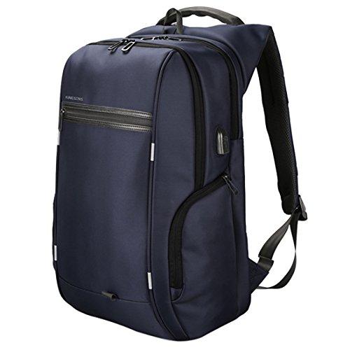 Luckywe Mochila para pañales USB de carga portátil bolsa de negocios bolsa de hombro doble Azul (EU)