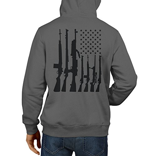 HAASE UNLIMITED Men's Big American Flag with Machine Guns Hoodie Sweatshirt (Charcoal, Large) - American Flag Hooded Sweatshirt
