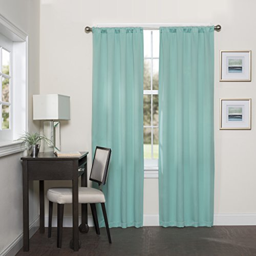 Eclipse 16205037063MNT Darrell 37-Inch by 63-Inch Thermaweave Room Darkening Single Window Curtain Panel, Mint