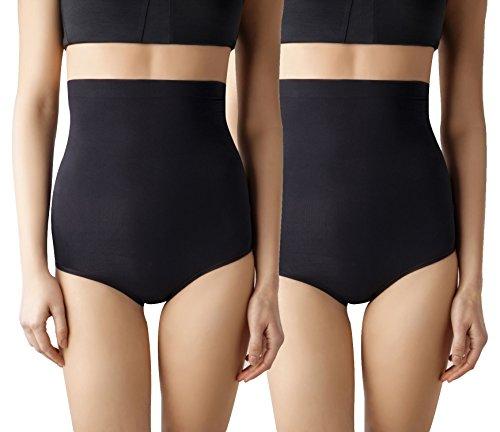 (MD Women's Seamless Shapewear High-Waisted Tummy Control Briefs Tummy and Bottom Body Shaper 2BlackM)