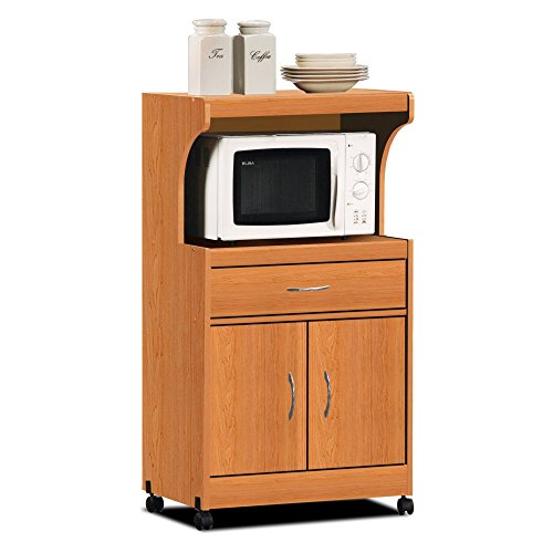 Kitchen Appliance Accessories: Hodedah Import HIK72 CHERRY Microwave Cart, Cherry Home