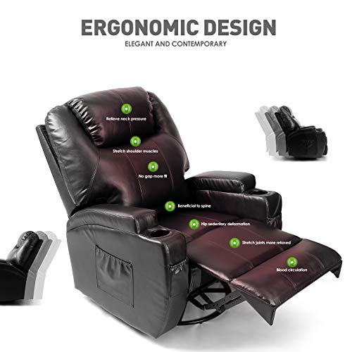Artist Hand Massage Recliner Chair with Cup Holder Electric Heated Living Room Chair Bedroom Chair Reading Chair (Black)