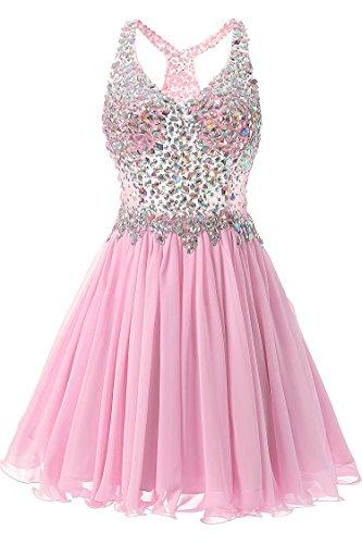 Bodice Halter Dress (VogueDress Women's Mini Halter Princess Homecoming Dresses Beaded Bodice Size 10 US Pink)