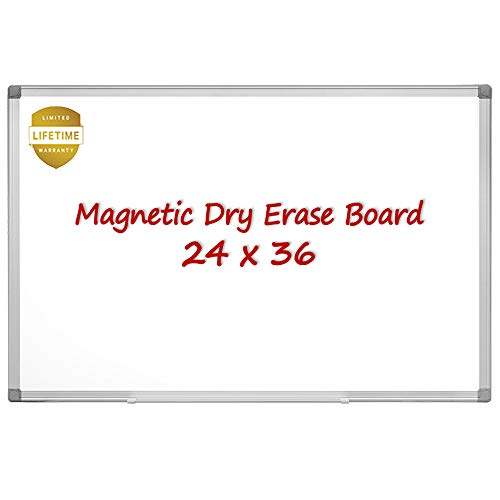 Magnetic Whiteboard/White Board, 36 X 24 Inches Magnetic Dry Erase Board, Silver Aluminum Frame with Detachable Marker Tray (24 X 36 Magnetic Dry Erase Board)