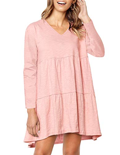 Womens Long Sleeve Loose Dress V Neck Pleated Swing Casual Babydoll dress with Pocket (Pink, M)
