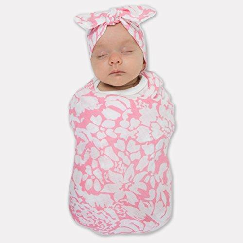 (SwaddleDesigns Marquisette Swaddling Blanket and Baby Headband Gift Set, Premium Cotton Muslin, Pink Lush)