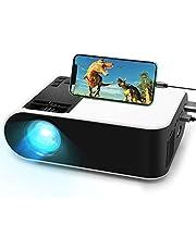 Mini proyector, proyector de película WayGoal con 50.000 horas de vida útil de la lámpara LED y proyector compatible con 1080P para exteriores, pantalla de 150 pulgadas para TV Stick, videojuegos, altavoces dobles