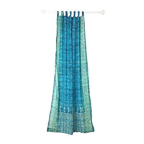 Colorful Window Treatment Draperies Indian Sari panel 108 96 84 inch for bedroom living room dining room kids yoga studio canopy boho tent FREE GIFT Silk bag TURQUOISE TEAL accents curtain