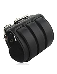 Ever Faith 3 Layer Wide Belt Genuine Leather Men Wristband Black Bracelet Unisex Couple