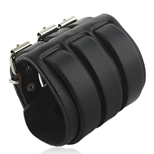 EVER FAITH® 3 Layer Wide Belt Genuine Leather Men Wristband Black Bracelet Unisex Couple (Faith Buckle)