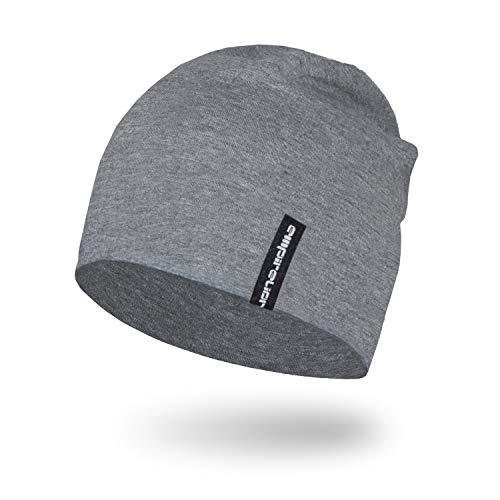 Empirelion Slouch Beanies Knit Hat Thin Running Lightweight Skull Cap for Men Women (Mid Grey Melange)