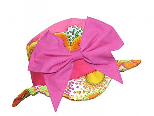 Jamie Rae Hats Orange Floral Undefined Sun Hats with Candy Pink Bow-Rae-Mi