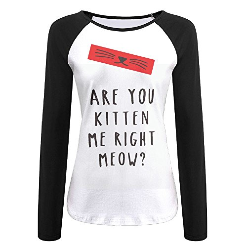 - Womens are You Kitten Me Right Meow Blend Casual Long Sleeved T-Shirt White