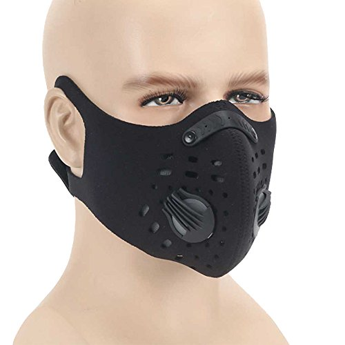 Dust mask,Anqier Activated Carbon Filtration Dustproof Mask Training Cycling Half Face Mask Exhaust Gas Anti Pollen Allergy PM2.5 Dust Mask Filter for Outdoor Activities (Black-C)