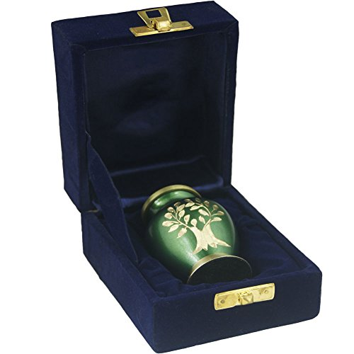 Mini Keepsake Funeral Urn- Brass Cremation Urns for Human Ashes Adult or Infant / Pet - Hand Engraved - Fits a Small Amount of Cremated Remains-Display Burial Urn at Home or Office (Aria Tree OF Life by MEILINXU