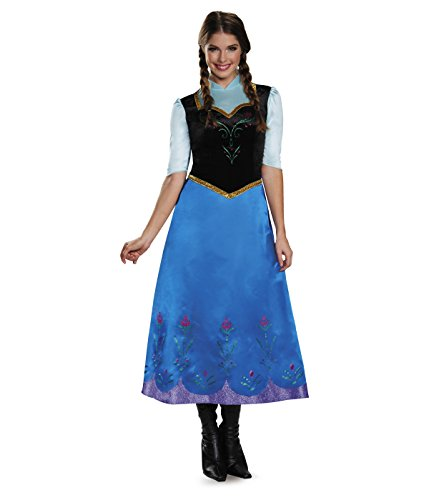 Disguise Women's Anna Traveling Deluxe Adult Costume, Multi, (Frozen Halloween Costumes Adults)