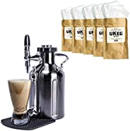 GrowlerWerks uKeg Nitro Cold Brew Coffee Maker, 50 oz, Black Chrome with Cold Brew Coffee Filters, 50 pack