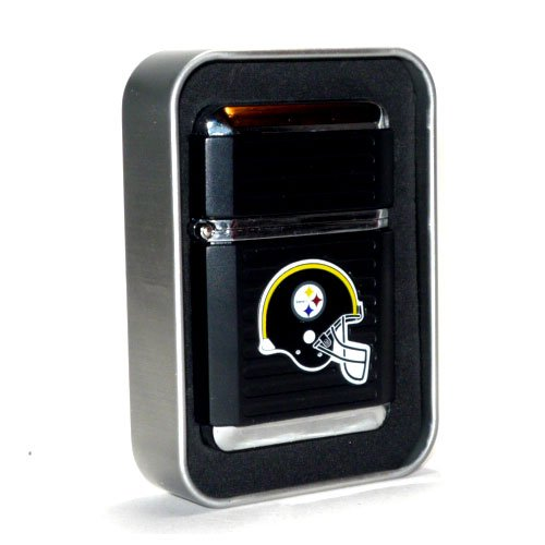 (NFL Pittsburgh Steelers Refillable Butane Torch Lighter with Tin Gift Box - Factory New - 2 1/4 Inch Height)