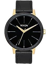 Nixon Womens Kensington Leather Watch Gold Black White