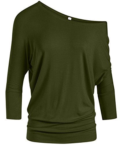 Olive Round Neck Top Olive Green 3/4 Sleeve Top Sexy Olive Top for Women (Size Large, Olive)