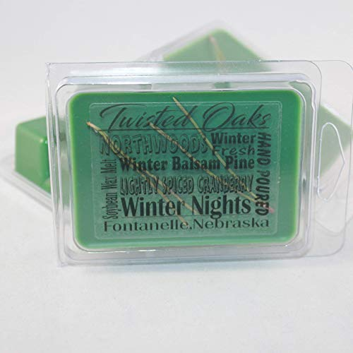 Winter Nights scented wax melt. A Mixture of Fresh Winter Balsam Pine and Lightly Spiced Cranberry with a Touch of Citrus. Soybean Blend Wax Melt. Hand Poured by Twisted Oaks Wax Works, Nebraska. ()