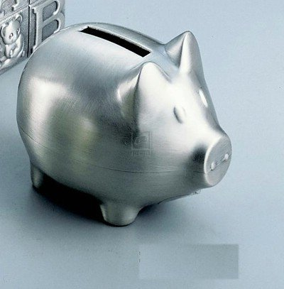 Adorable Satin Pewter finish PIGGY BANK -