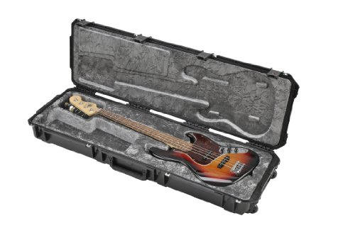 SKB Injection Molded Electric Bass Case, Plush Interior, TSA Latches, with wheels (3i-5014-44) ()