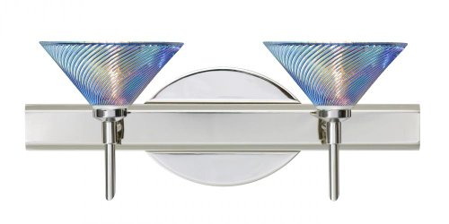 Besa Lighting 2SW-550493-CR 2X40W G9 Kona Wall Sconce with Dicro Swirl Glass, Chrome - Dicro Swirl