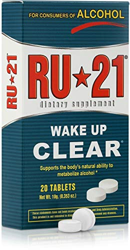 RU-21 Wake Up Clear After Drinking, Supports The Bodys Ability to Metabolize Alcohol (20-Pill Pack)