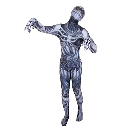 Yqihy Halloween Costumes for Adults and Kids 3D Printing Spandex Full Bodysuit Dark Gray Big Mouth Skull -