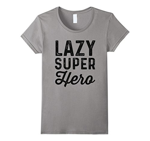 Action Hero Costume Female (Womens Lazy Superhero | Funny Easy Halloween Costume Shirt XL Slate)