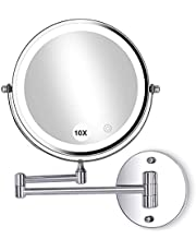 20cm Wall Mounted Makeup Mirror with Lights LED 10x Wall Makeup Vanity Mirror Double Sided,Touch Button and Adjustable Light,Shaving Makeup in Bedroom or Bathroom,Powered by 4xAAA Batteries(Not Inc...
