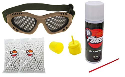 Airsoft Essential Starter Kit-6mm 0.20g High Precision Ultra Seamless BB's x 1000 RDS, Airsoft Adjustable Metal Mesh Wire Shooting Goggles,Silicone Lubricant Oil and Propane Adapter (Tan Goggles)