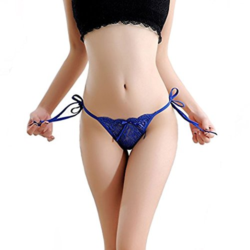 Blue Womens Underwear (Meiye Women Tie Side Bowknot Ribbons Lace Thongs Panties Adjustable G-string Underwear (Blue))