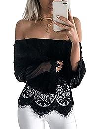 Women Elegant Off Shoulder Ruffle Long Sleeve Lace Sheer T Shirt Blouses Tops
