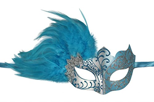 KAYSO INC Venetian Masquerade Mask with Feathers Silver & Light -