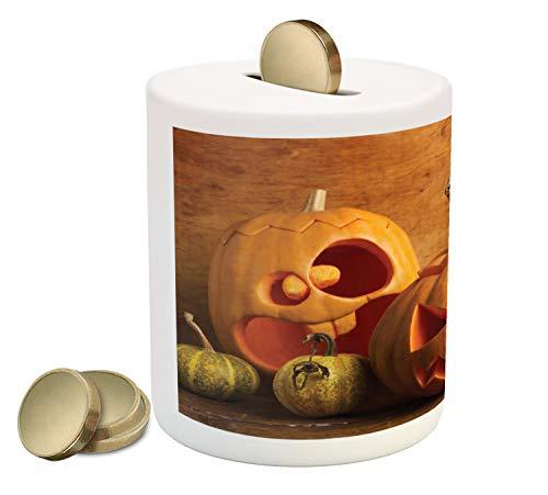 Ambesonne Autumn Pumpkin Piggy Bank, Halloween Jack o Lantern Carved Fruits Photo, Printed Ceramic Coin Bank Money Box for Cash Saving, Dark Orange Persian Orange Fawn Mustard]()