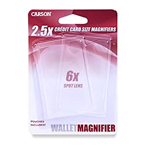 Carson Credit Card Sized 2.5x Wallet Magnifier with 6x Spot Lens (Pack of 2)