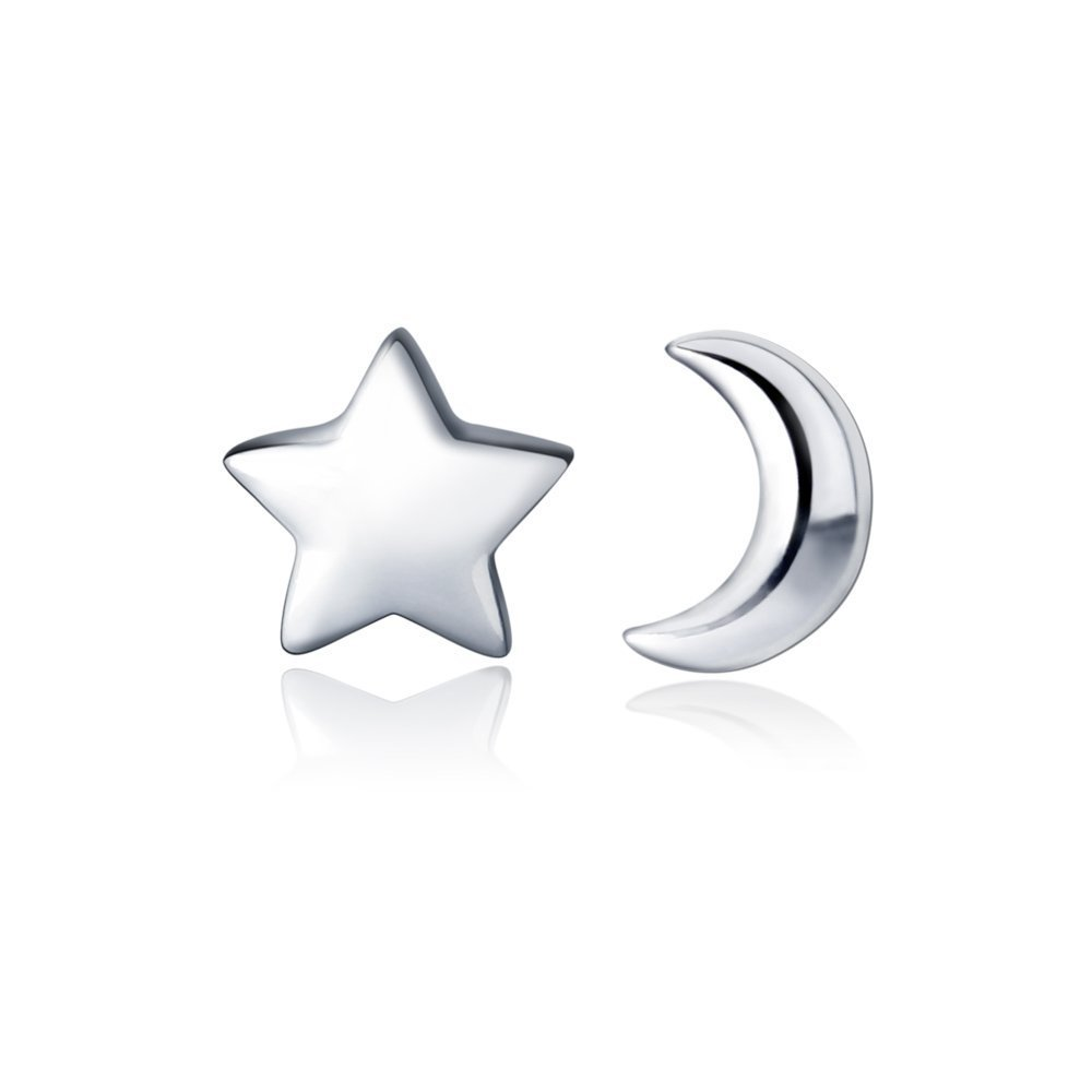 HANFLY Moon and Star 925 Sterling Silver Stud Earring Star Earring (8mm)