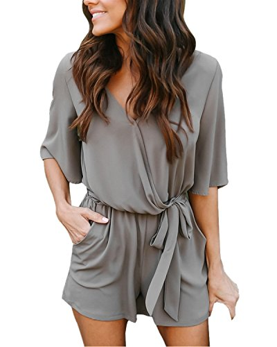 Auxo Women Short Sleeve Romper Summer V Neck Cute Playsuit One Piece Jumpsuit Jumper E Grey M