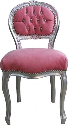 Casa-Padrino Ladys Chair Pink Silver Bling Bling diamante - dressing table  chair b3f8da8ed