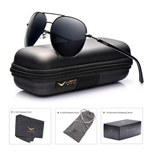(LUENX Aviator Sunglasses Mens Women Polarized Black Lens Black Metal Frame Dark 60mm with Case -)